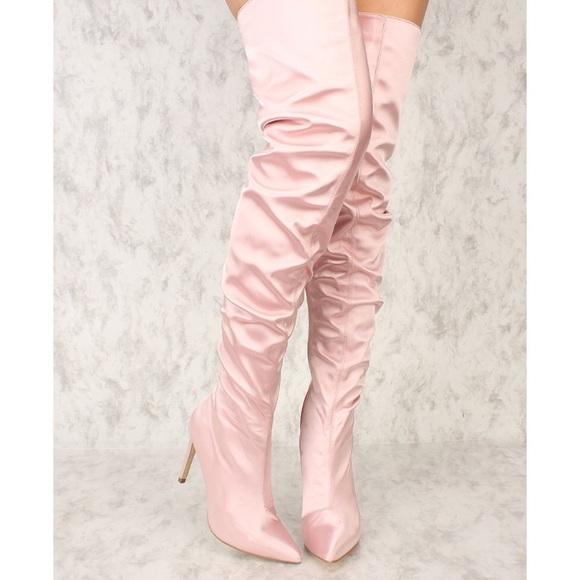 4b17af82d67 Cape Robbin Shoes | Pink Silk Thigh High Boots | Poshmark
